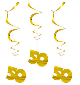 Hangdecoratie 50 goud 3 stuks