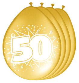 Folat ballonnen 50 goud 8 stuks