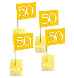 Party vlaggetjes 50 goud 50 stuks