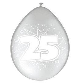 Ballonnen zilver 25 jaar 8 stuks