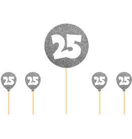 Taart topper 25 zilver