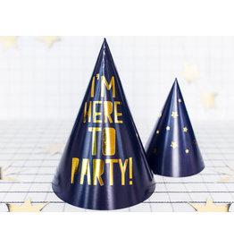 Feesthoedjes blauw met goud, I'm here to party 6 stuks
