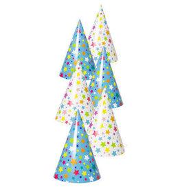 Feesthoedjes gekleurde sterren 6 stuks