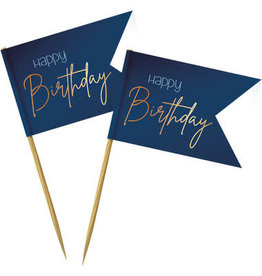 Party prikkers donker blauw/goud Happy Birthday 36x