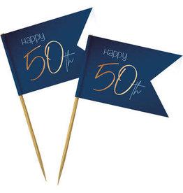 Party prikkers donker blauw/goud 50 jaar 36x