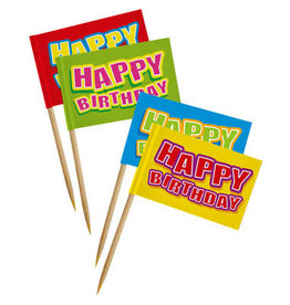 Party prikkers happy birthday geblokt 24 stuks