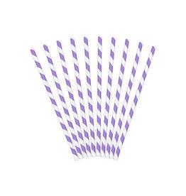 Papieren rietjes lila wit gestreept 10 stuks