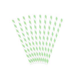Papieren rietjes mint wit gestreept 10 stuks