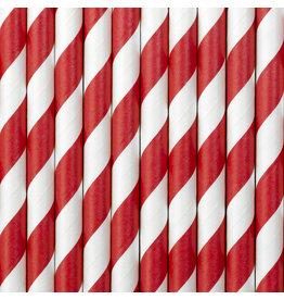 Papieren rietjes rood wit gestreept 10 stuks