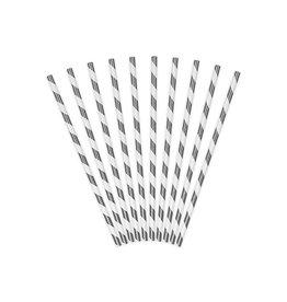 Papieren rietjes wit/zilver metallic 10 stuks