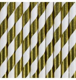 Papieren rietjes wit/goud metallic 10 stuks