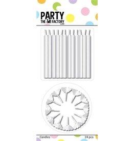 The party factory kaarsjes wit 24 stuks
