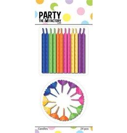 The party factory kaarsjes div kleuren 24 stuks