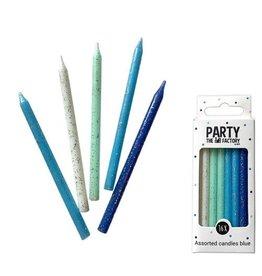 The party factory glitter kaarsjes blauw 16 stuks