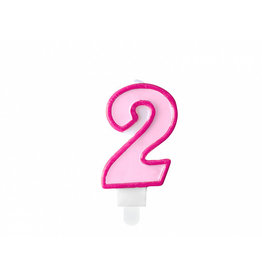 Verjaardagskaars roze cijfer 2