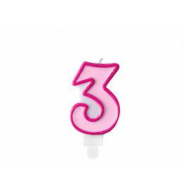 Verjaardagskaars roze cijfer 3
