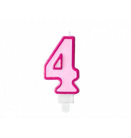 Verjaardagskaars roze cijfer 4
