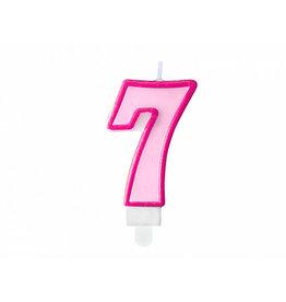 Verjaardagskaars roze cijfer 7