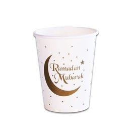 Bekers wit goud Ramadan Mubarak 8 stuks 25 cl