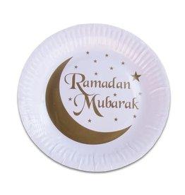 Borden wit goud Ramadan Mubarak 18 cm 8 stuks