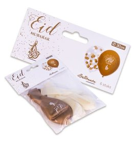 Latex ballonnen wit goud Eid Mubarak 6 stuks