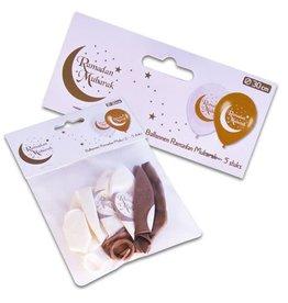 Latex ballonnen wit goud Ramadan Mubarak 6 stuks
