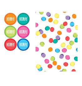 Papieren uitdeelzakjes festive colors 6 stuks