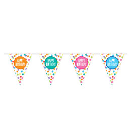 Vlaggenlijn festive colors happy birthday papier 6 meter
