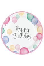 Amscan happy birthday borden pastel 8 stuks