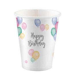 Amscan happy birthday bekers pastel 8 stuks