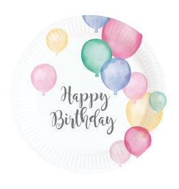 Amscan happy birthday gebaksbordjes pastel 8 stuks