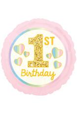 Amscan folieballon 1st birthday pastel roze/goud 43 cm