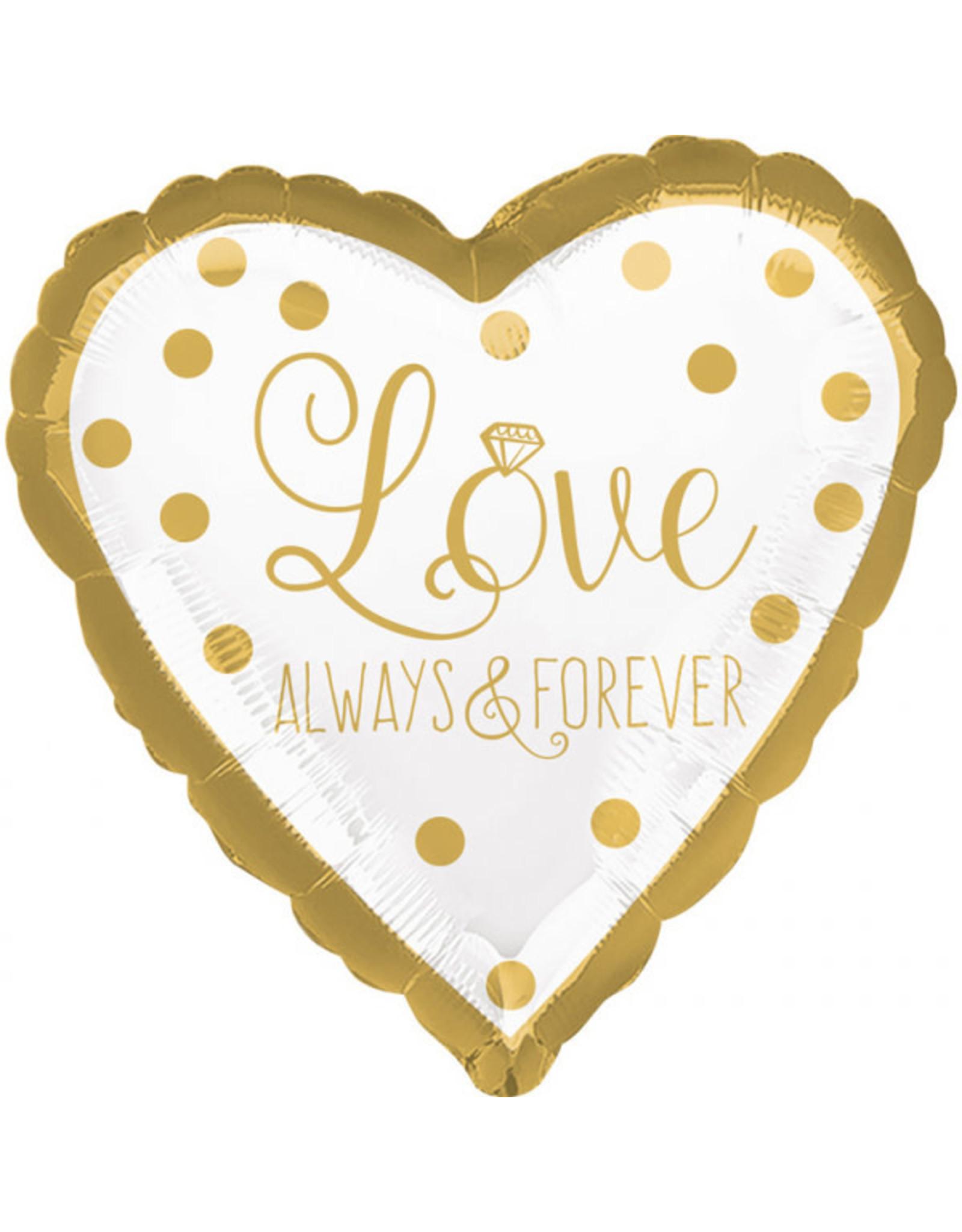 Amscan folieballon love always & forever wit/goud 43 cm