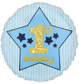Amscan folieballon 1st birthday pastel blauw/goud 43 cm