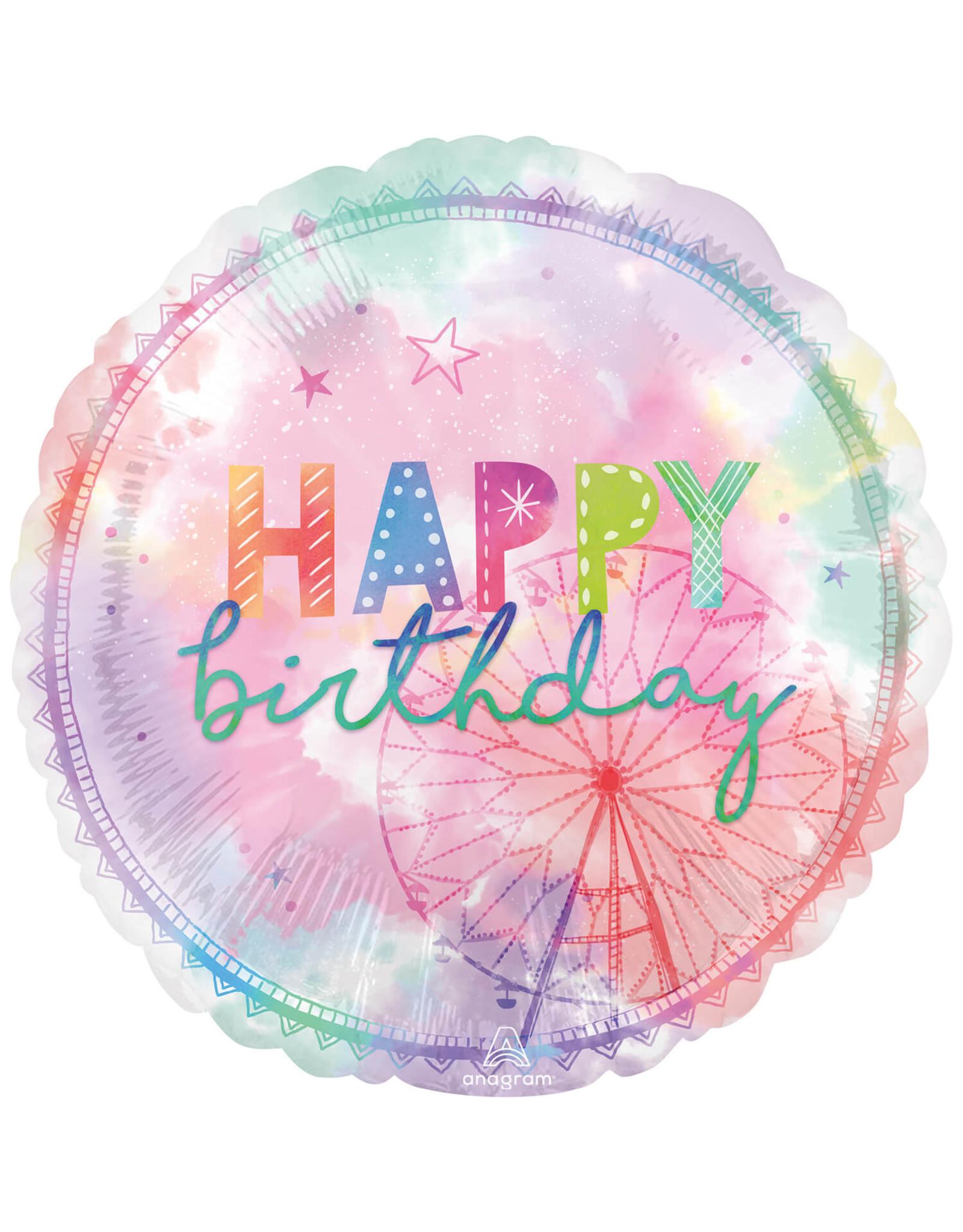 Amscan folieballon supershape happy birthday reuzenrad 71 cm