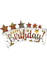 Amscan folieballon supershape happy birthday glitter banner 86 x 48 cm