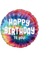 Amscan folieballon tie dye happy birthday to you 43 cm