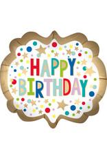 Amscan folieballon supershape happy birthday satijn goud 63 x 55 cm