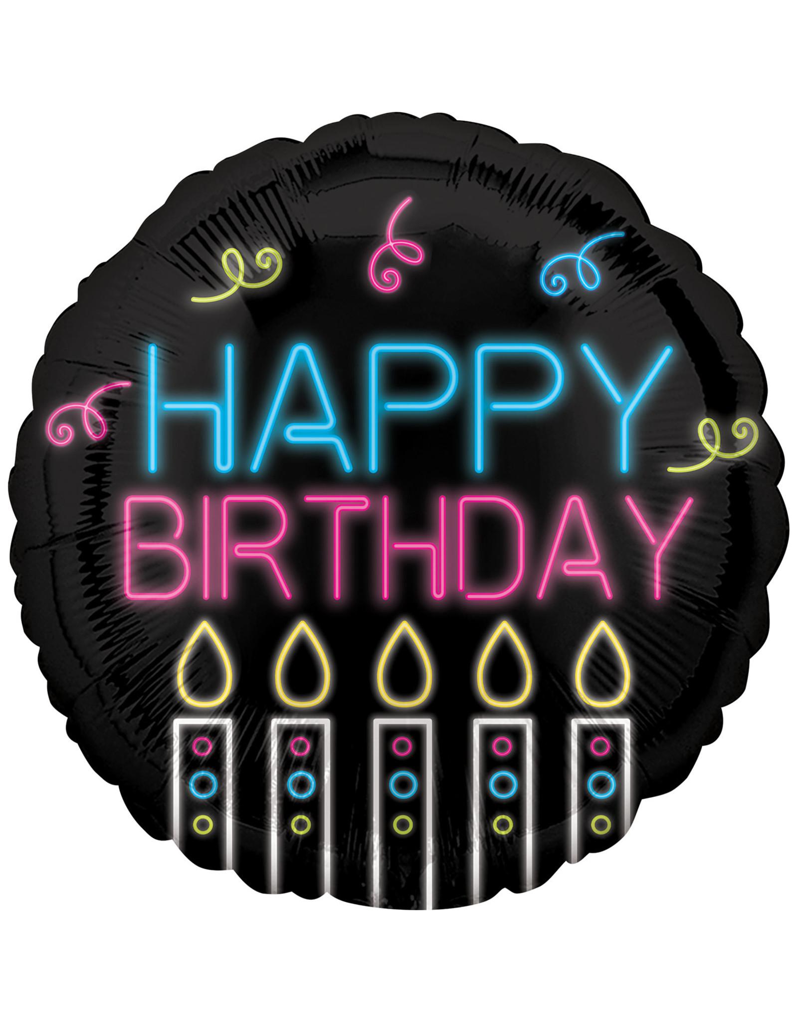 Amscan folieballon neon happy birthday 43 cm