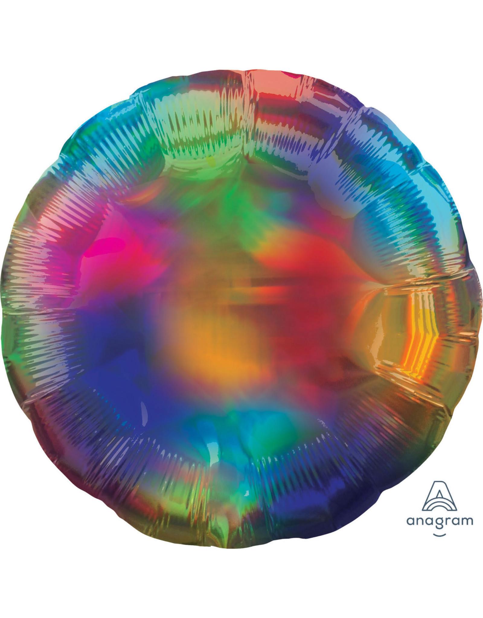 Amscan folieballon rond holographic regenboog 43 cm