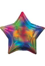 Amscan folieballon ster holographic regenboog 48 cm