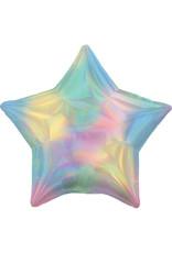 Amscan folieballon ster pastel holographic regenboog 48 cm