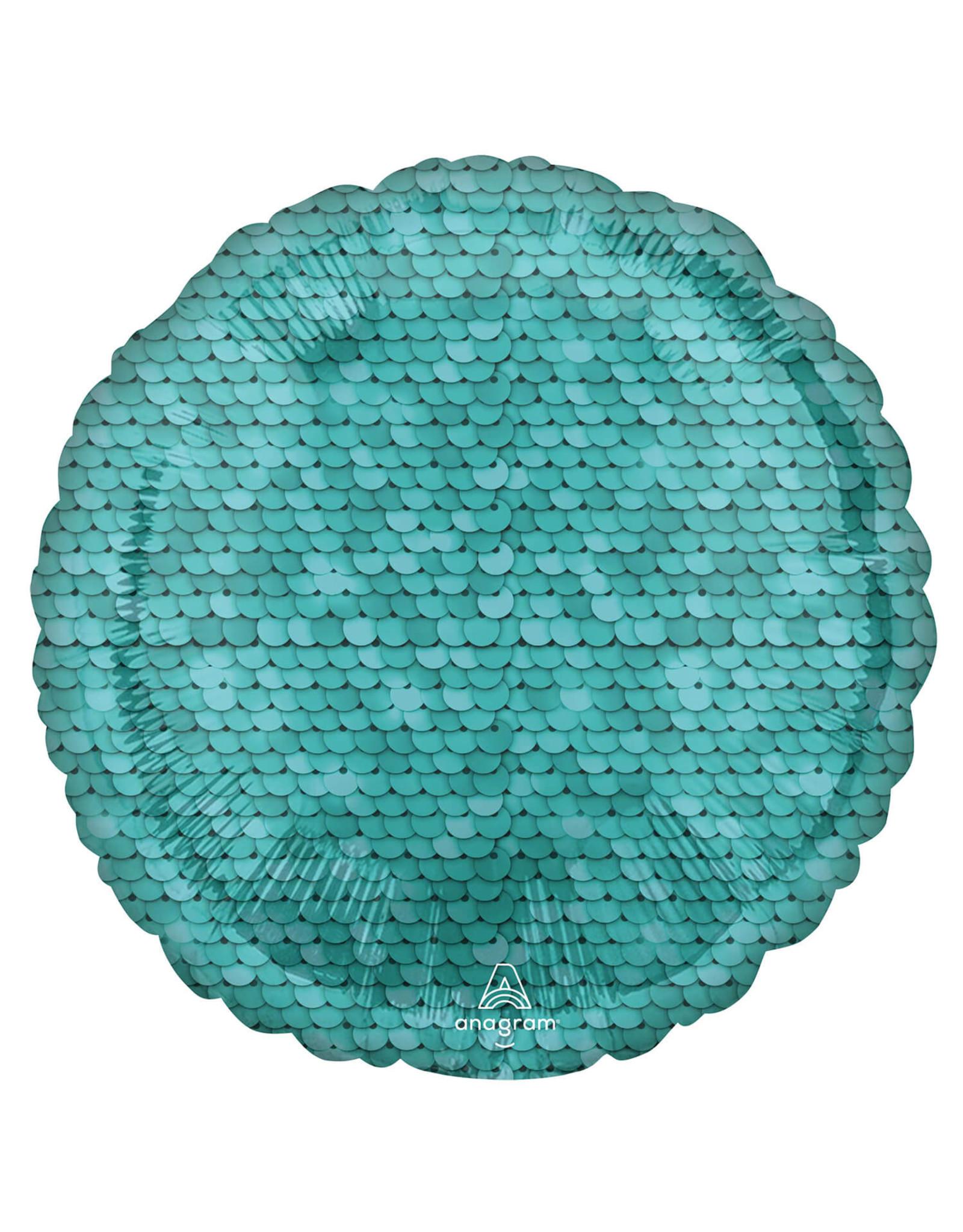 Amscan folieballon rond blauw sequins 43 cm