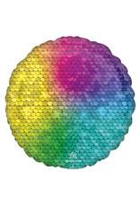 Amscan folieballon rond regenboog sequins 43 cm