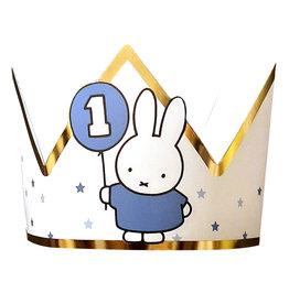 Nijntje 1e verjaardag kroon blauw/goud