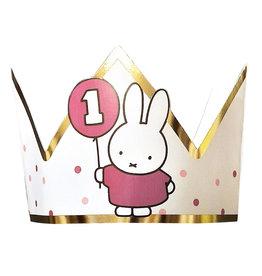 Nijntje 1e verjaardag kroon roze/goud
