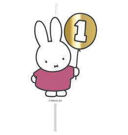 Nijntje 1e verjaardag kaars roze/goud