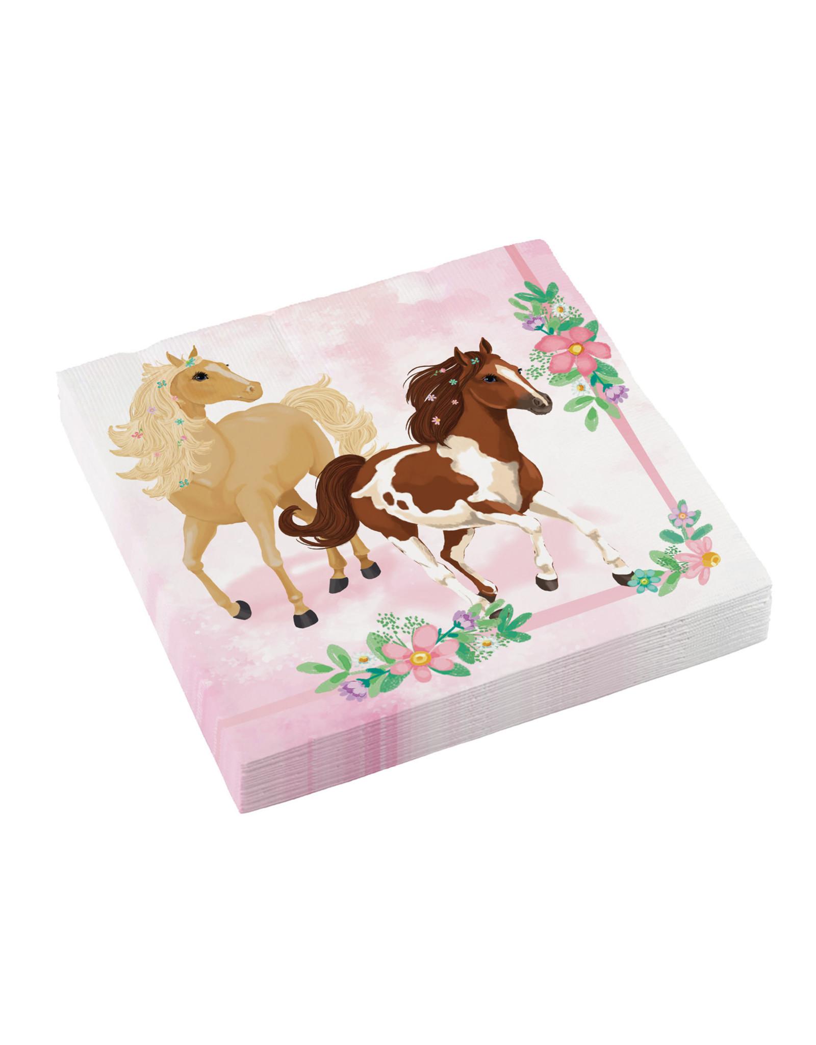 Amscan beautiful horses servetten 33 x 33 cm 20 stuks