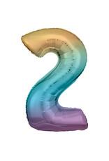 Amscan folieballon pastel regenboog cijfer 2 86 cm