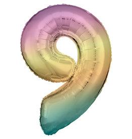 Amscan folieballon pastel regenboog cijfer 9 86 cm